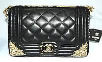 Женская сумка клатч Chanel Boy (Шанель Бой) 30665 черная с золотом