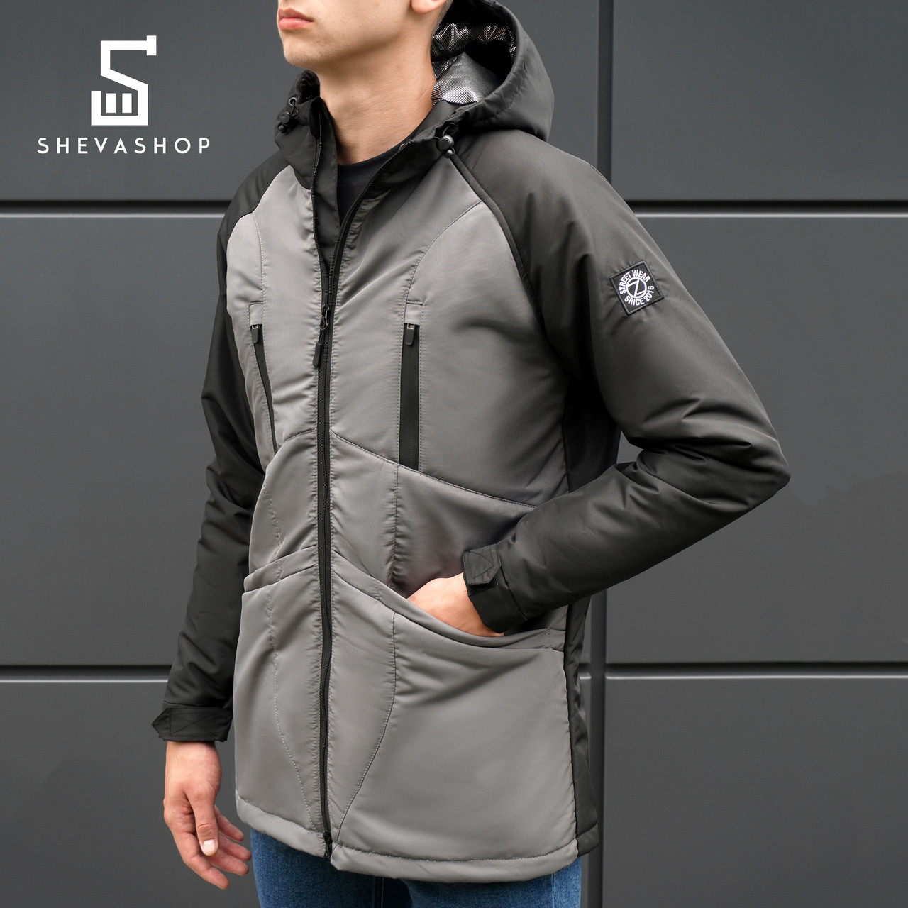 Демисезонная мужская куртка BeZet Omni-heat '18 черно-серая