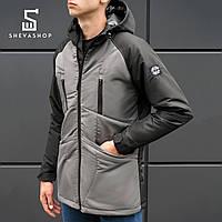 Демисезонная мужская куртка BeZet Omni-heat '18 черно-серая, фото 1