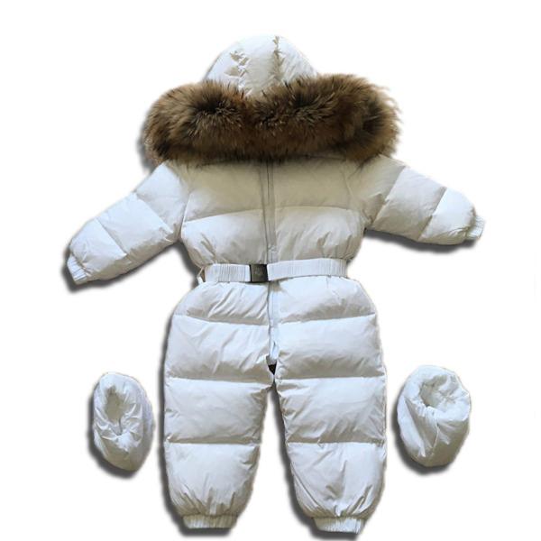 Детский зимний комбинезон цельный белый