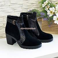 """Ботинки женские демисезонные на устойчивом каблуке, натуральная кожа """"питон"""" и замша, фото 1"""