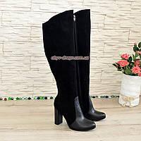 Ботфорты зимние черные комбинированные на высоком устойчивом каблуке, фото 1