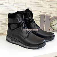 Ботинки мужские на шнуровке, натуральная кожа и замш черного цвета, фото 1