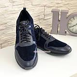 Кросівки чоловічі з натуральної шкіри та замші синього кольору, на шнурівці, фото 2