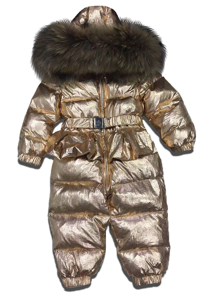 d6d1b99c9831 Детский зимний комбинезон цельный золотой с юбочкой