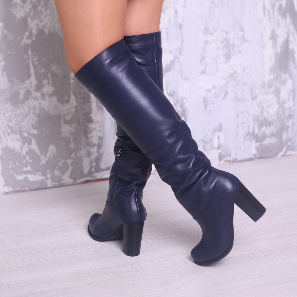 Женские синие сапоги кожаные на каблуке. Индивидуальный пошив. Натуральная кожа.