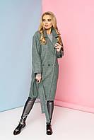 """Пальто демисезонное  зауженного к низу силуэта с  накладными карманам """"М-614"""" (оливка), фото 1"""