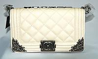 Женская сумка клатч Chanel Boy (Шанель Бой) 30665 бежевая