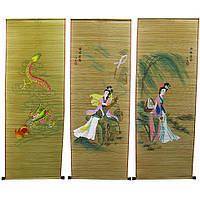 Панно из бамбуковой соломки с рисунком (40х110 см) 19370