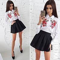 Костюм двойка короткая юбка и рубашка с вышивкой в школу или институт