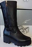 Сапоги женские зимние на широком каблуке из натуральной кожи от производителя  модель СВ502 e116d067816f8