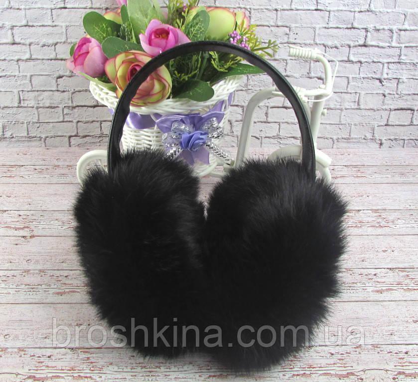 Наушники из натурального меха кролика черные -