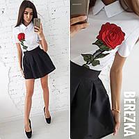 Комплект короткая юбка и рубашка с вышивкой в школу или институт