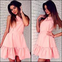 Летнее свободное женское платье с рюшами МФ051
