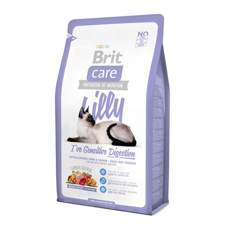 Brit Care Cat Lilly с ягенком и лососем для кошек с чувствительным пищ