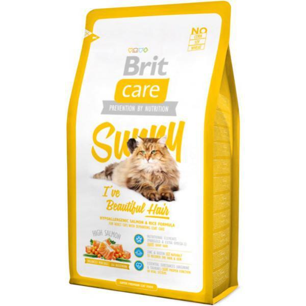 Brit Care Cat Sunny с лососем и рисом для кошек, дополнительный уход з
