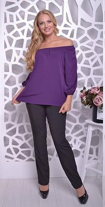 Летний женский костюм большого размера из блузы и брюк 50-56 р, фото 2