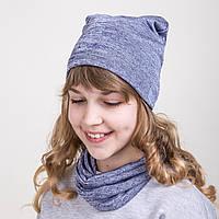 Комплект из шапки и хомута для девочки на весну  - Артикул 2074b