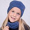 Вязанный комплект из шапки и хомута для девочки - Артикул 2116