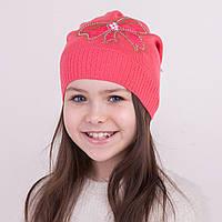 Модная вязаная шапка на весну для девочки - Артикул 1268