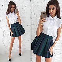 Короткая юбка и рубашка хлопок короткий рукав, стильный костюм