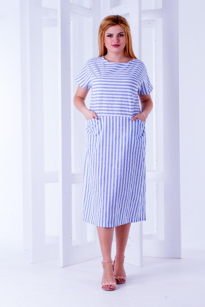 """Платье   """" Полина """"  больших размеров 52,54,56  в полоску с карманами  голубая полоска  код  589/8952"""