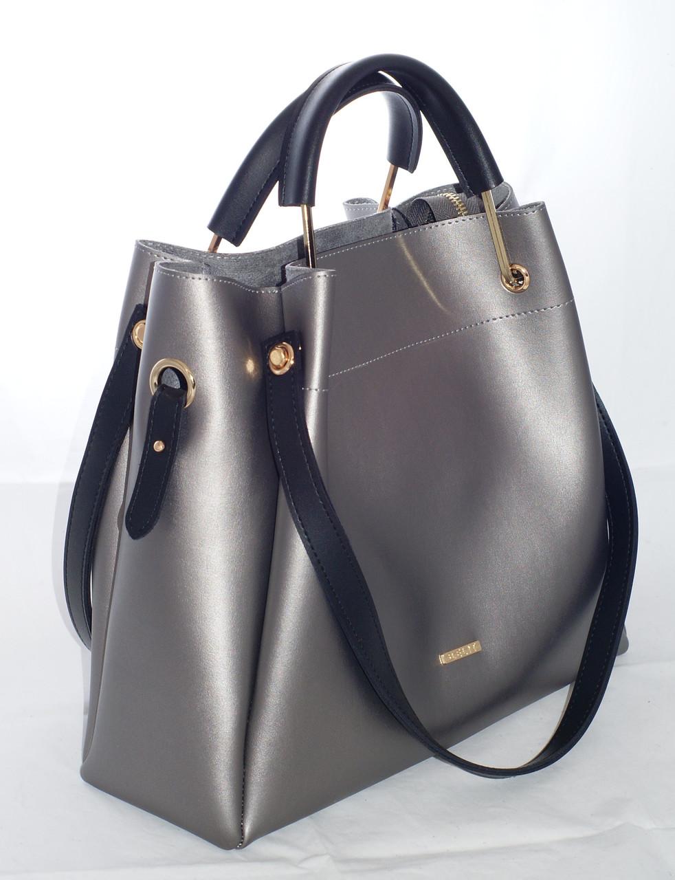 d0e1d9c7da9a Женская сумка - шоппер B.Elit, цвет графит (серый) с черными ручками ...
