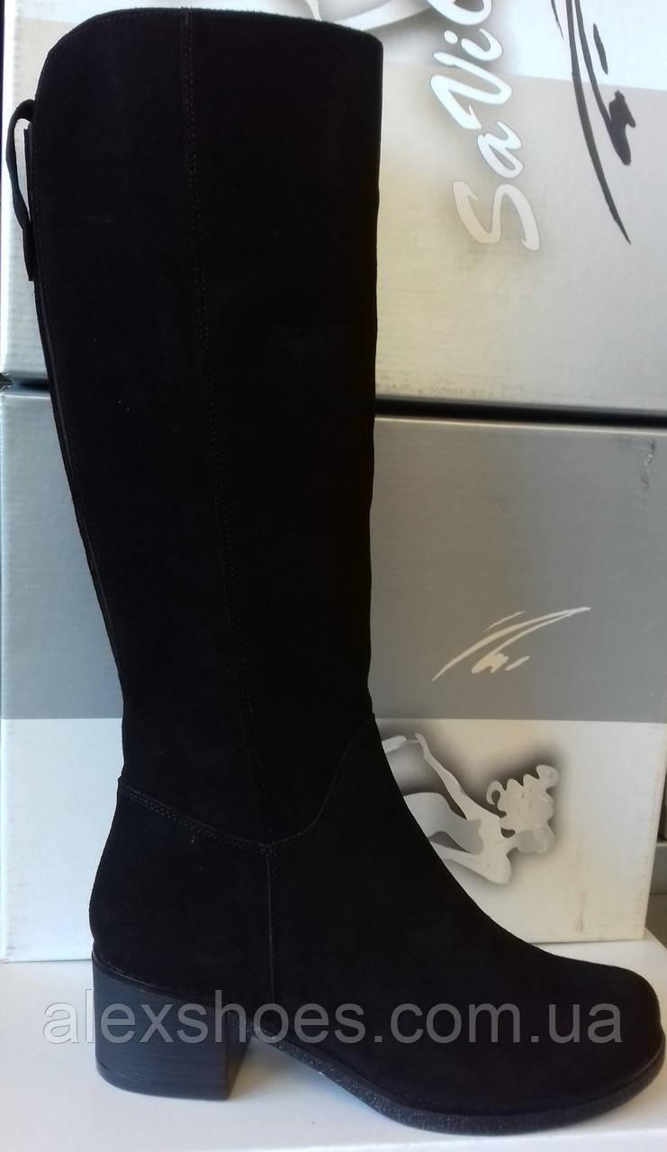Сапоги женские зимние на широком каблучке из натуральной замши от производителя модель СВ7-77