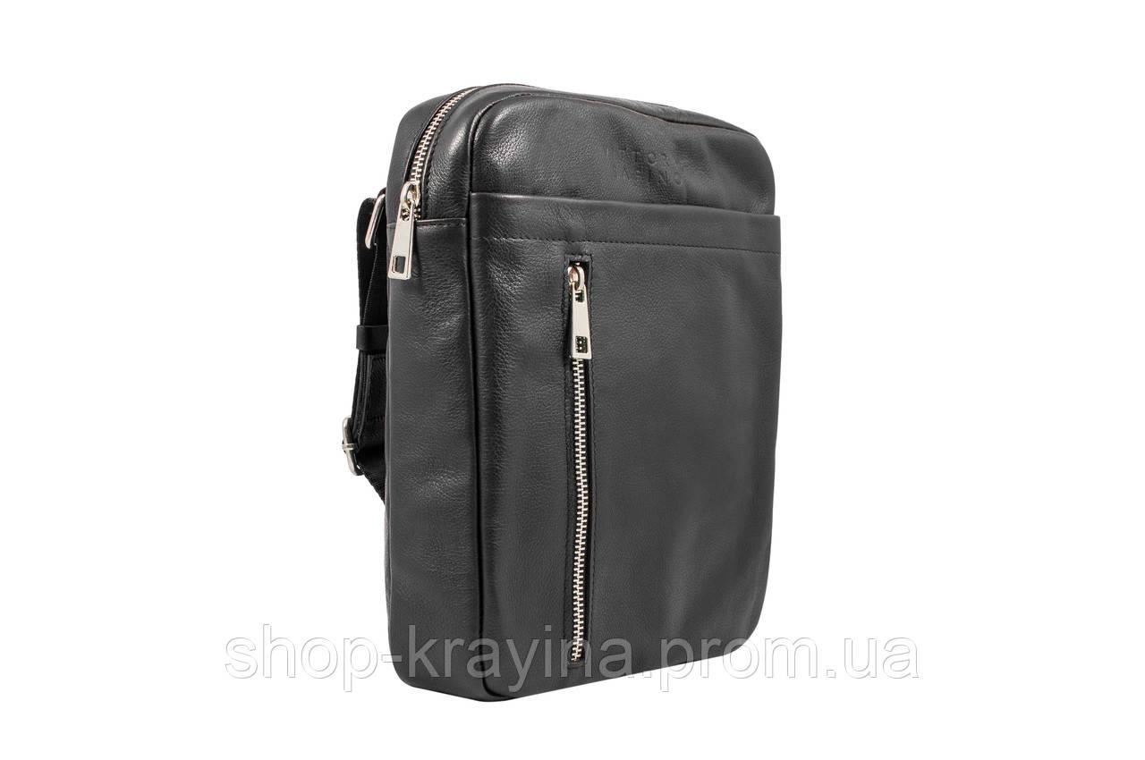 Мужская стильная сумка VS011 leather fleet black 23х18х5 см