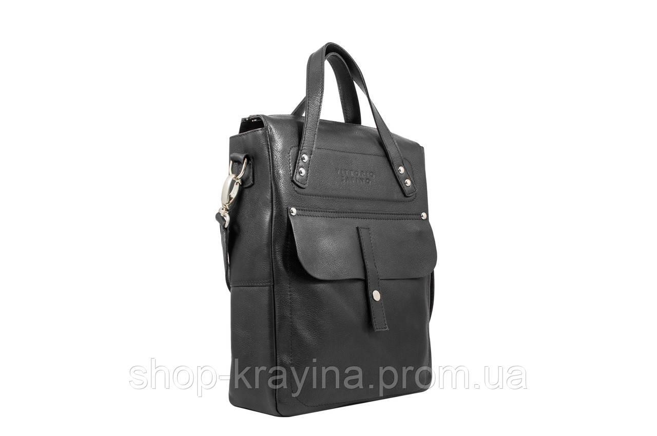Мужская стильная сумка VS002 leather fleet black 27х23х7 см