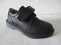 Черные модные туфли броги мальчикам 26-28 р