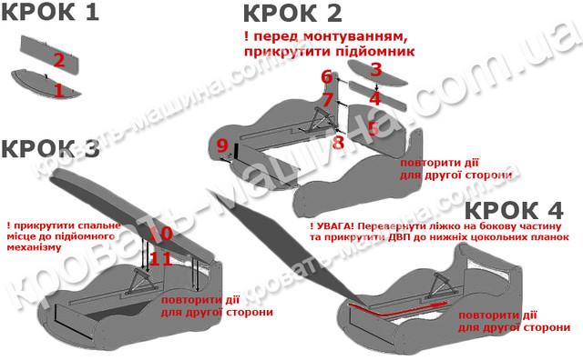 Схема сборки кровати машины с подъемным механизмом