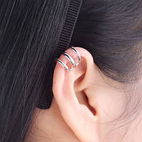 Клипса обманка на ухо (без прокола) тройная. Бижутерия. , фото 1