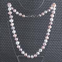 Жемчуг белый, персик и фиолетовый, 43 см., бусы, 458БСЖ