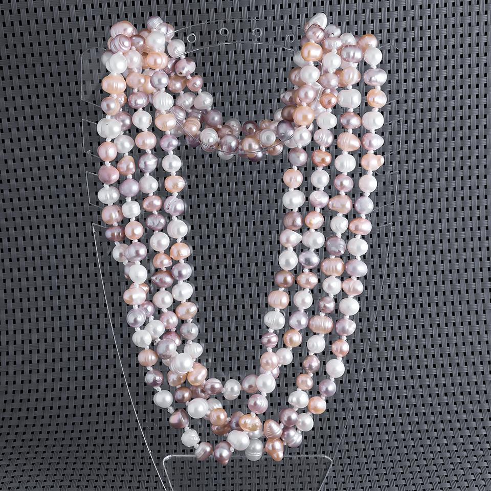 Жемчуг белый, персик и фиолетовый, 180 см., бусы, 459БСЖ