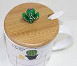 Кружка керамическая белая Кактус, с ложкой и деревянной крышкой, фото 2