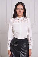 Женская рубашка со вставкой из гипюра / вискоза, гипюр / Украина 25-1699, фото 1
