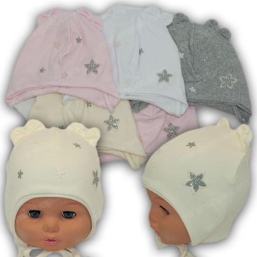 Дитяча подвійна трикотажна шапочка на зав'язках, р. 42-44