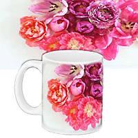 Кружка подарок с принтом Цветы пионы (33233)