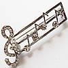 """Брошь """"Скрипичный ключ"""" (под серебро) для украшения одежды, сумок, рюкзаков."""