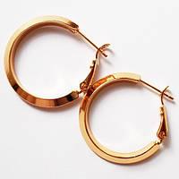 Серьги кольца (диаметр 25 мм) классические. Ювелирная бижутерия Xuping. Позолота 18К., фото 1