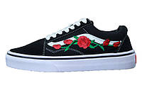 Женские кеды Vans Old Skool Art Roses Black/White