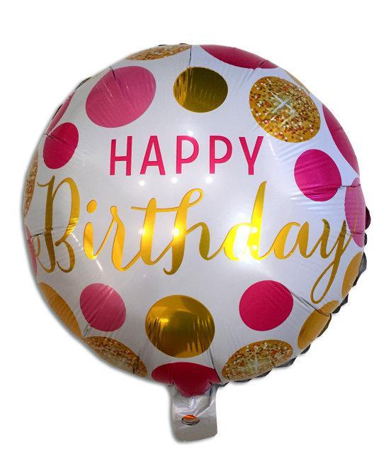 """Шар фольгированный круглый """"Happy Birthday"""" золото на белом фоне, 45 см"""
