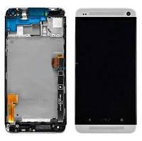 Дисплей для HTC 802w One M7 Dual Sim с тачскрином и белой рамкой черный Оригинал
