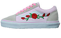 Женские кеды Vans Old Skool Roses Pink/Gray/White