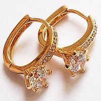 "Серьги кольца ""Артемида"" с цирконом (инкрустация). Позолота 18К. Xuping Jewelry., фото 1"