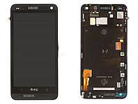 Дисплей для HTC 802w One M7 Dual Sim с тачскрином и рамкой черный Оригинал