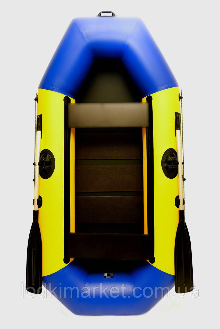Двухместная надувная лодка ПВХ Grif boat G-250 желто-синяя