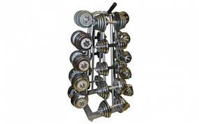 Подставка (стойка) четырехсторонняя для гантелей SC-8032A (металл, р-р 50х50х113см)