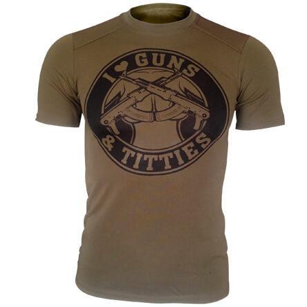 Футболка олива I Love Guns & Titties CoolMax (потовідвідна)